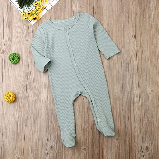 Leesiy Newborn Baby Boy Girl Autumn Clothes Long Sleeve Knitting Button Footed Romper Ribbed Bodysuit Pajamas Outfits