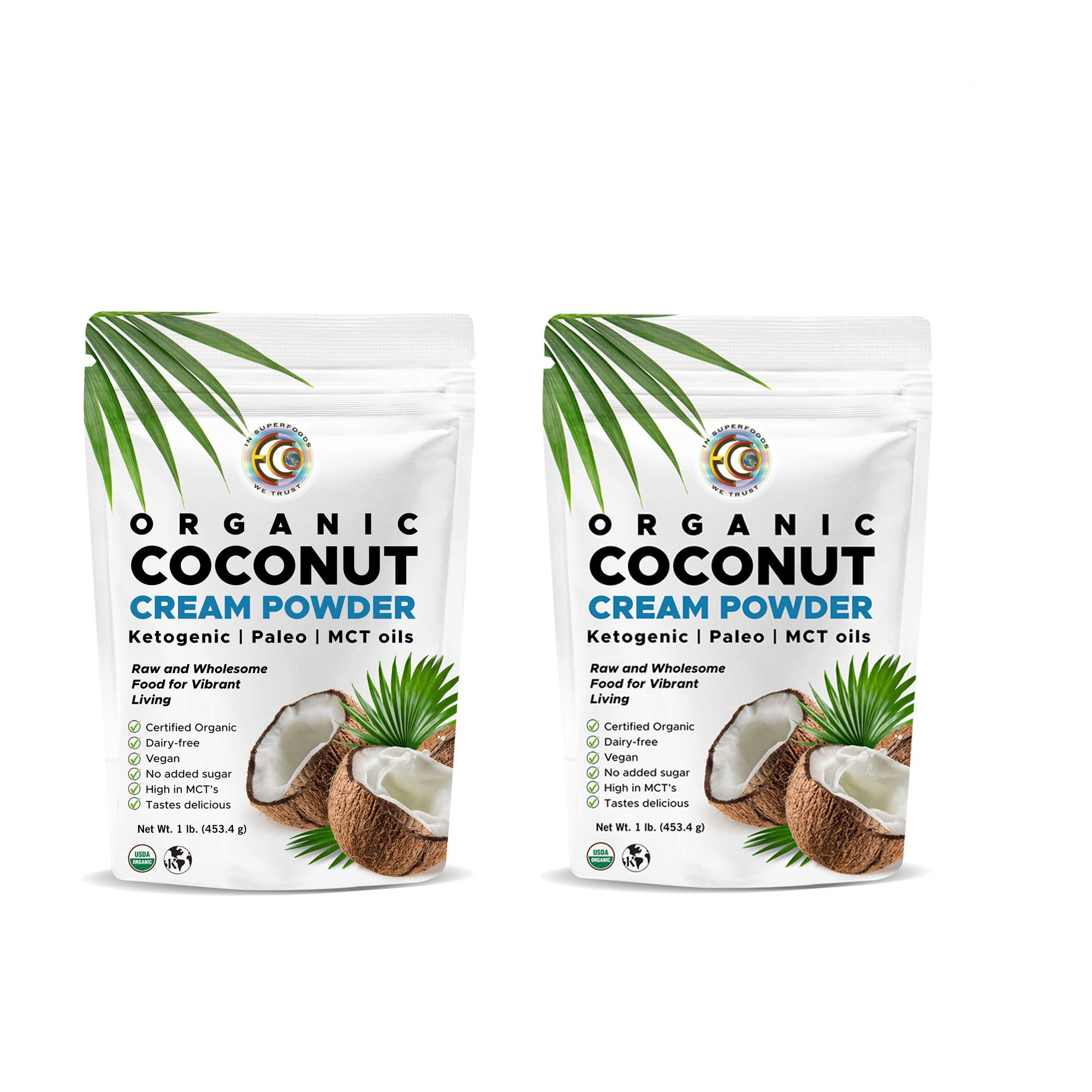 Organic Premium Coconut Milk Powder | Perfect Keto Powdered Coffee Creamer | High in MCT Oil | Vegan | No Added Sugar | Dehydrated | Vegan | Gluten and Dairy Free - (2 Pack) by Earth Circle Organics