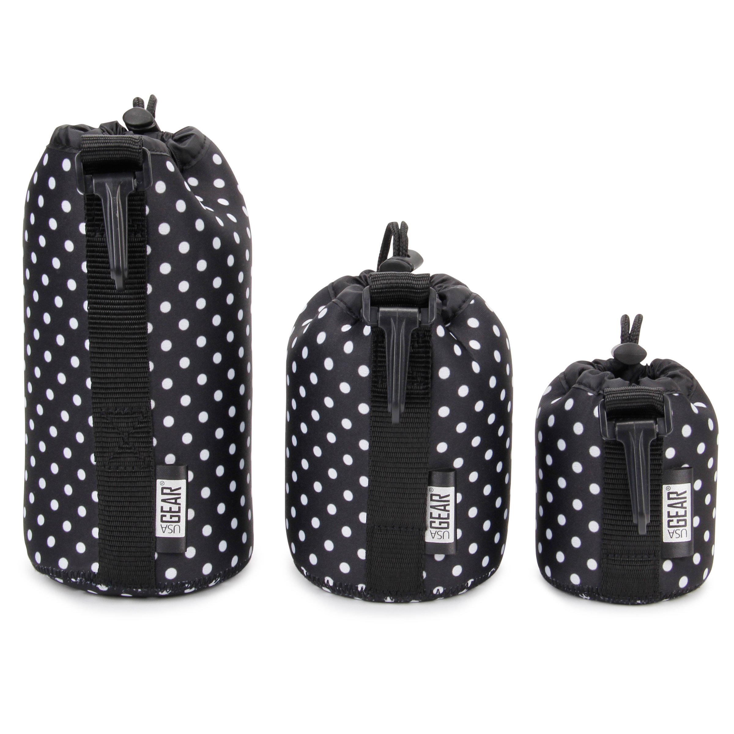FlexARMOR Protective Neoprene Lens Case Pouch Set 3-Pack (Polka Dot) by USA Gear - Small, Medium and Large Cases Hold Lenses up to 70-300mm with Drawstring Opening, Attached Clip, Reinforced Belt Loop by USA Gear