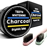 Teeth Whitening Charcoal Toothpaste - Activated Charcoal Powder with 2 Charcoal infused Toothbrushes - ORGANIC LABS