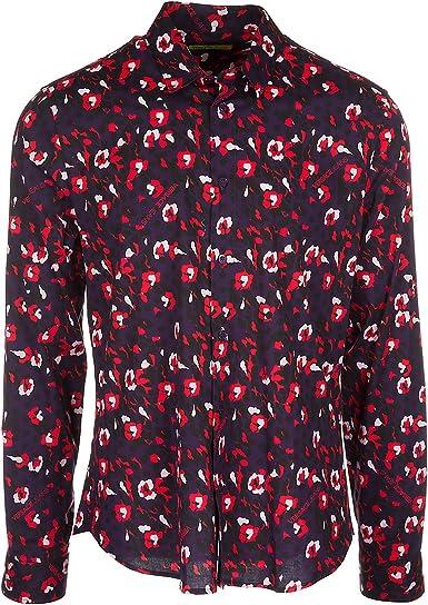 Versace Jeans Camisa de Mangas largas Hombre Violeta: Amazon.es: Ropa y accesorios