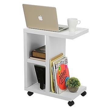 Genial Modern Wood Rolling End Table, Rectangular Storage Organizer Shelving Unit,  White