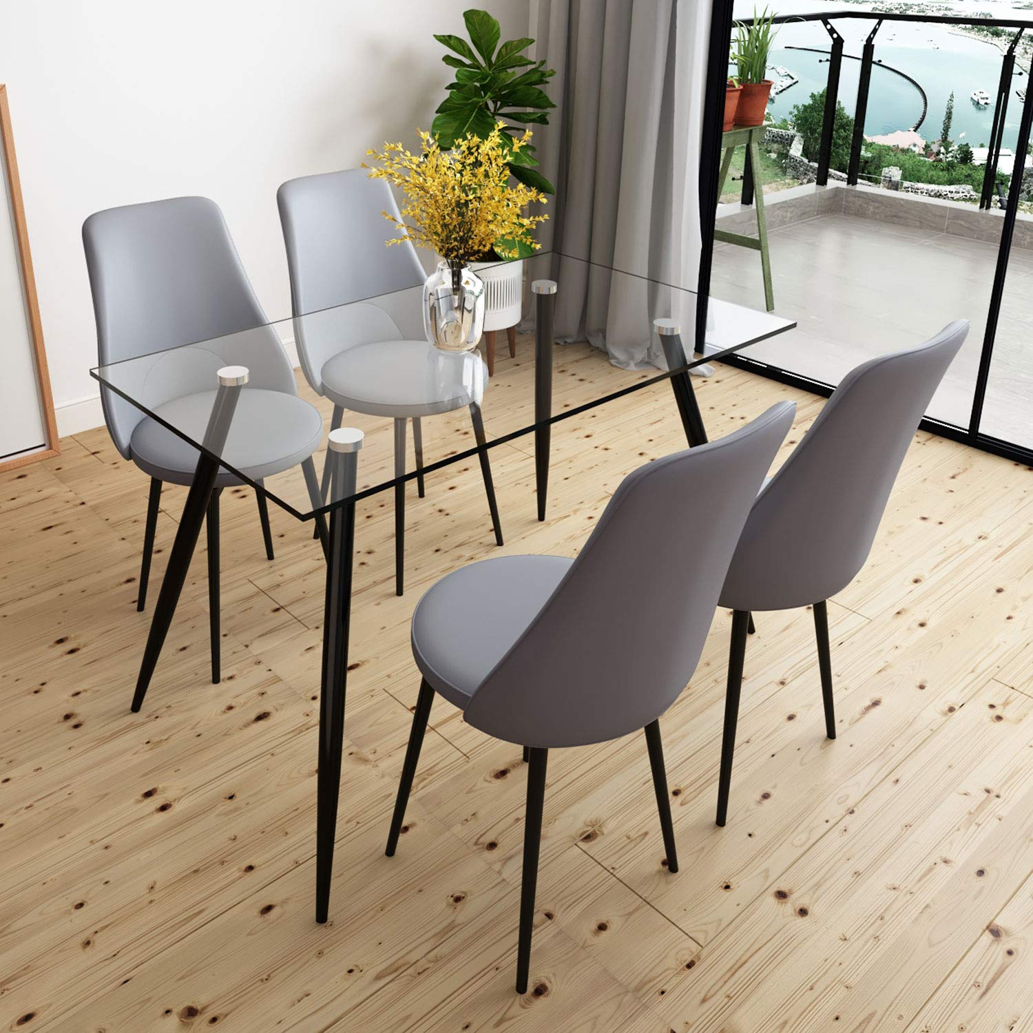 5 PCS Dining room Set Glass Dining Table 4 Swivel Chair with Metal Wood Leg for Dining Room Kitchen Furniture Grey
