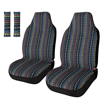 Copap Universal Stripe Colorful 4pc Front Seat Covers Saddle Blanket Baja Bucket Seat Cover