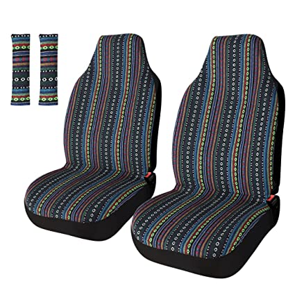Copap Universal Stripe Colorful 4pc Front Seat Covers Saddle Blanket Baja Bucket Cover With