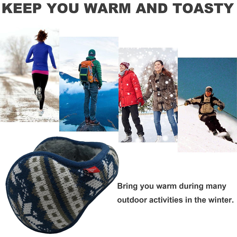 Back Worn Ear Warmer-Snowflake Pattern-Foldable Mraw-Adjustable Winter Earmuff