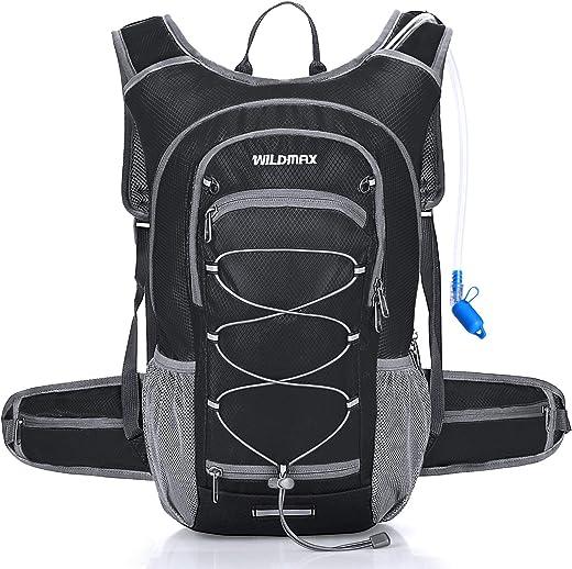 WILDMAX Hydration Backpack with 2L BPA Free Hydration Bladder,Water Rucksack Hydration Pack Backpack for Men Women Cycling, Hiking, Running, Climbing, Biking,Camping,Long Day Commuter