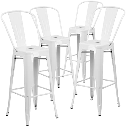 Flash Furniture 4 Pk. 30\'\' High White Metal Indoor-Outdoor Barstool with  Back