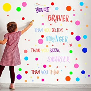 288 Pieces Polka Dots Wall Sticker Circle Wall Decal Motivational Phrases Wall Decals You're Braver Than You Believe Stickers for Kids Boys and Girls Bedroom Classroom Playroom
