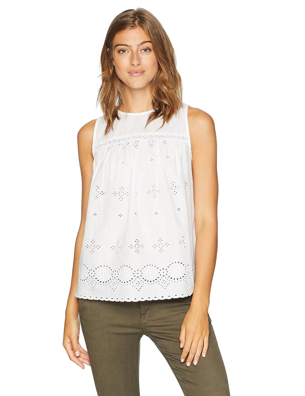 02165d4ea1538 Amazon.com  Serene Bohemian Women s Sleeveless Round Neck Schiffli Top in  Cotton Fabric  Clothing