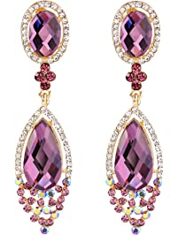 Womens clip on earrings amazon brilove womens wedding bridal infinity figure 8 crystal teardrop chandelier dangle clip on earrings aloadofball Images