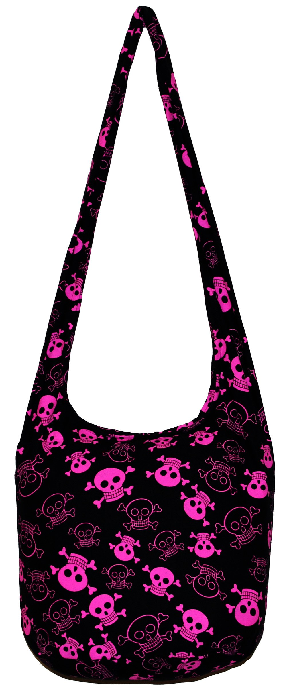 All Best Thing Pink Black Skull Bohemian Hobo Hippie Crossbody Bag Purse with Inner Lining 35 Inch N0030