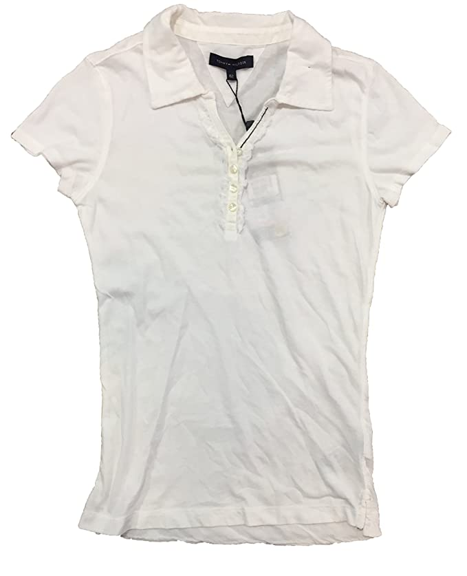 Tommy Hilfiger - Polo de Manga Corta Ruffle, Chica, Color: Blanco ...