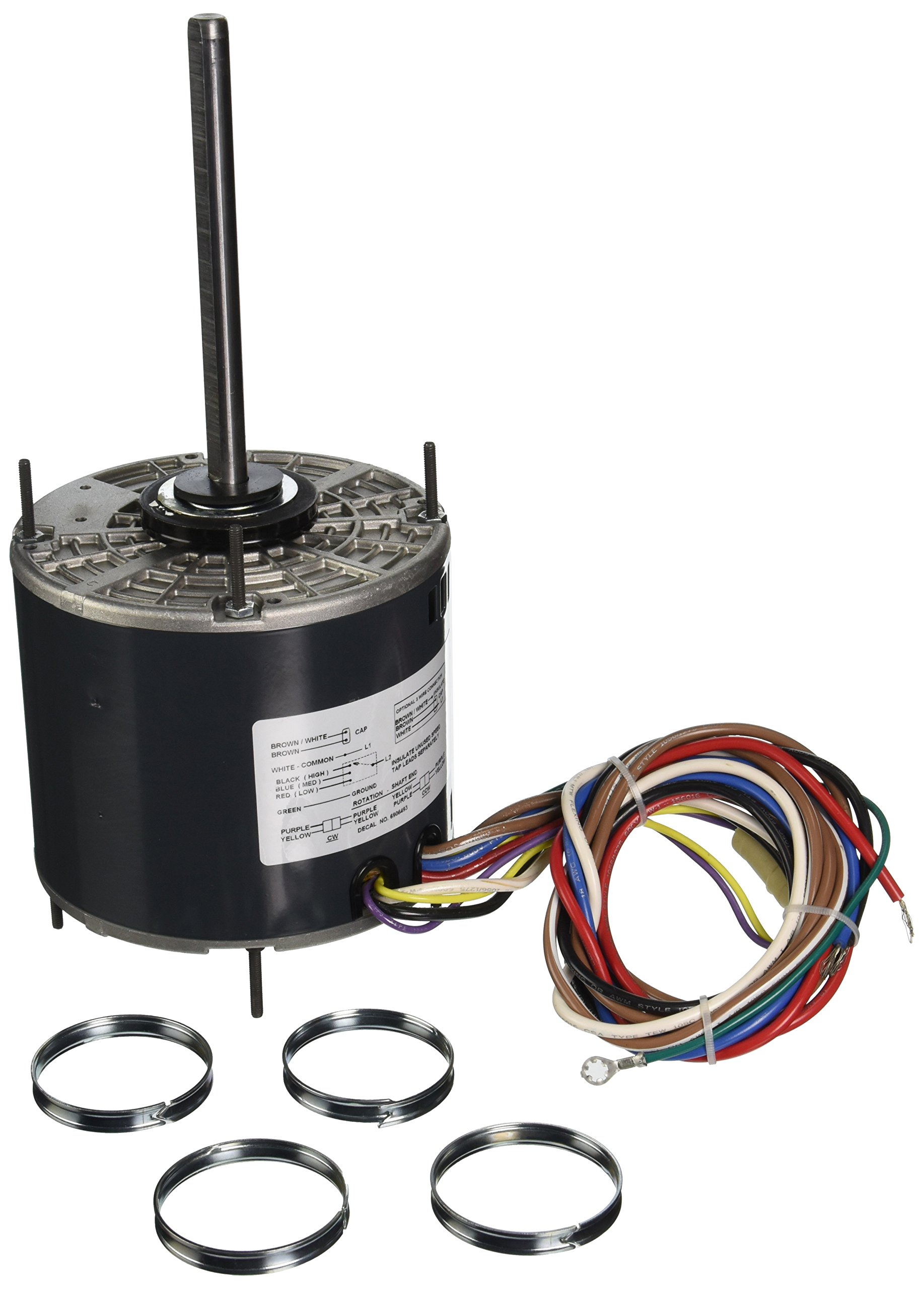 Marathon X011 48Y Frame Open Air Over 48A17O2005 Condenser Fan Motor 1/3 hp, 1625 rpm, 208-230 VAC, 1 Phase, 3 Speeds, Ball Bearing, Permanent Split Capacitor, Thru-Bolt