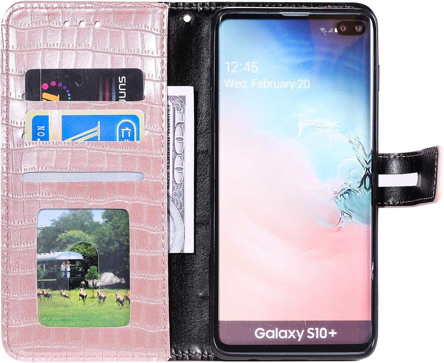 Portefeuille Lomogo Coque Galaxy S10+ LOHHA140273 Or Rose Housse en Cuir avec Porte Carte Fermeture par Rabat Aimant/é Antichoc /Étui Case pour Samsung Galaxy S10+ //G975F S10 Plus