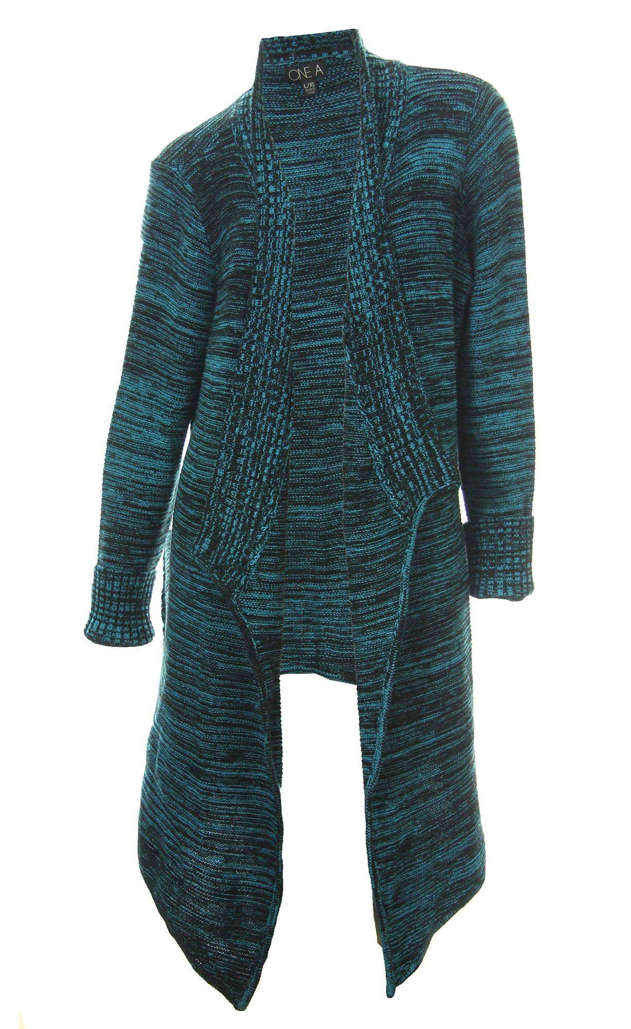 One A Women's Long Sleeve Asymmetrical Hemline Cardigan Sweater Large Turquiose
