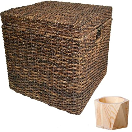 Wicker Lidded Cube Storage Basket Baskets for storage Large storage baskets Laundry Baskets - Dark Global  sc 1 st  Amazon.com & Amazon.com: Wicker Lidded Cube Storage Basket Baskets for storage ...