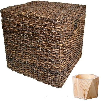 Superb Wicker Lidded Cube Storage Basket Baskets For Storage Large Storage Baskets  Laundry Baskets   Dark Global