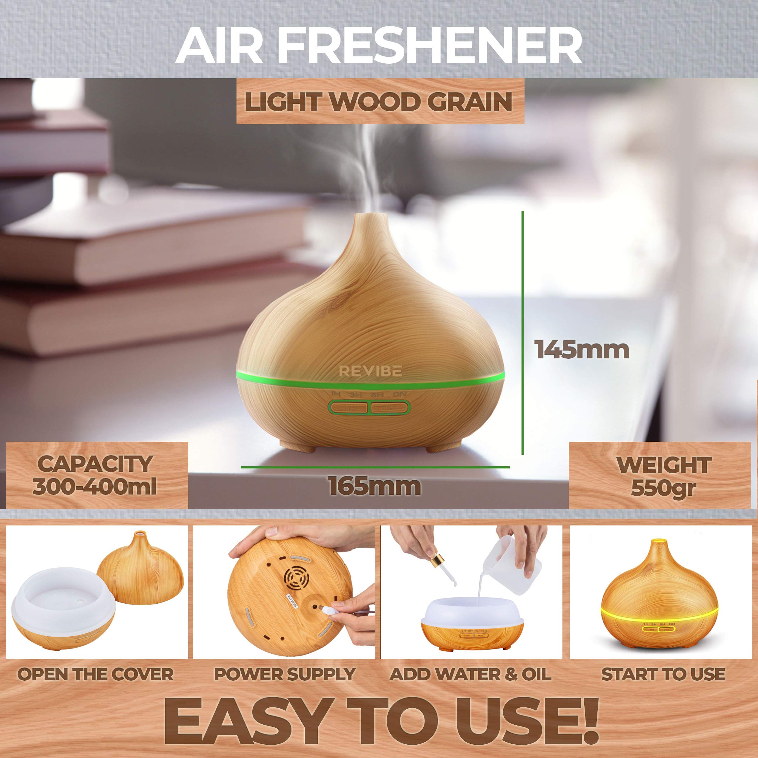 Ultrasonic Humidifier Night Light Diffuser - Create a Glorious Aroma throughout your Home and Experience the Benefits of Aromatherapy by Revibe (Image #5)