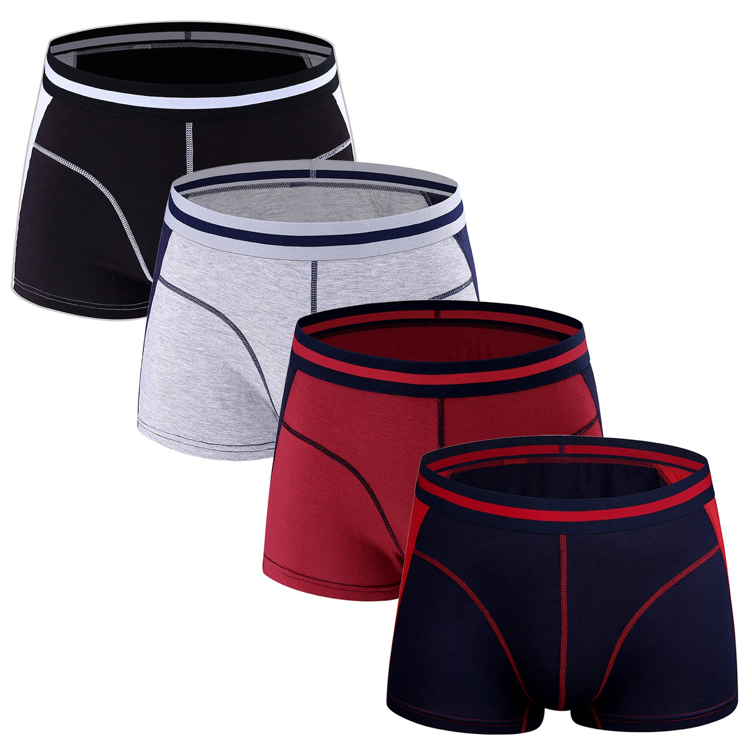 Men's Micro Modal Trunks Pack of 4 Underwear Soft Waistband Low Rise Boxer Briefs No Fly Pouch,Size S