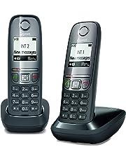 """Gigaset AS475 Duo, Due Telefoni Cordless, Chiamate tra Interni/Interfono, Rubrica Personalizzabile, Trasferimento di Chiamata, Display da 1.8"""" b/n, Nero [Italia]"""