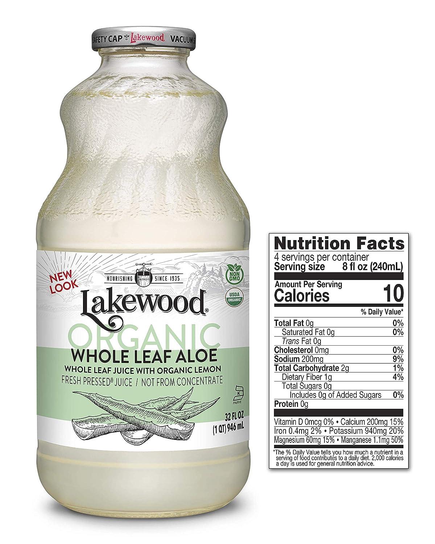 Lakewood OrganicPure Whole Leaf Aloe, 32 Ounce (Pack of 6)