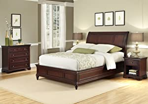 Lafayette Cherry King Sleigh Bed, Night Stand and Chest by Home Styles