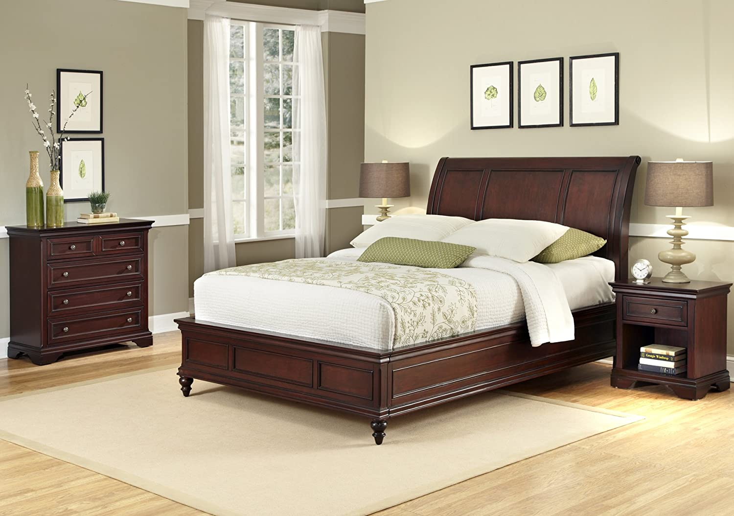 Amazon.com: Home Styles Lafayette King Sleigh Bed, Night Stand and ...