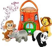 Gift for 1-5 year old EDUCATIONAL Plush Toy Talking Animal Set, Stuffed Animals, Elephant Monkey Lion & Panda Baby Toddler To