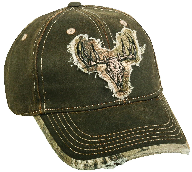 Realtree Adjustable Closure Deer Skull Logo Cap, Dark Brown/Realtree Xtra Camo Outdoor Cap HT51A