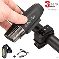 Cycleafer USB Rechargeable Bike Light Set - Super POWERFUL Lumens Bicycle Headlight - Water Resistance - LED Front and Back Rear Lights - Easy To Install for Kids Men Women Road Cycling Mountain Safety Flashlight