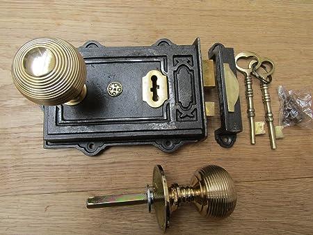 "Polished Chrome Round Door Knob//Cottage //Mortice Rim Lock//Handle//Traditonal// 2/"""