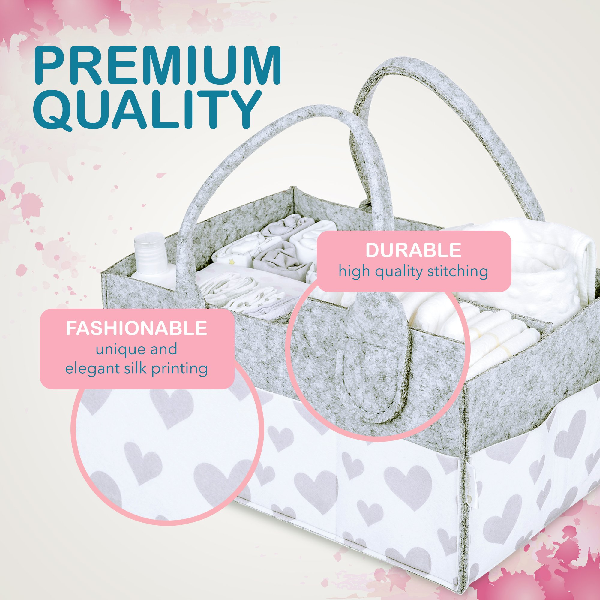 Baby Diaper Caddy and Toy Storage Basket | Portable Diaper Bag for Infants, Boys and Girls | Extra Sturdy & Large Nursery Organizer | Perfect Baby Shower Gift | Baby Registry Must Haves by Littlegem4U (Image #4)