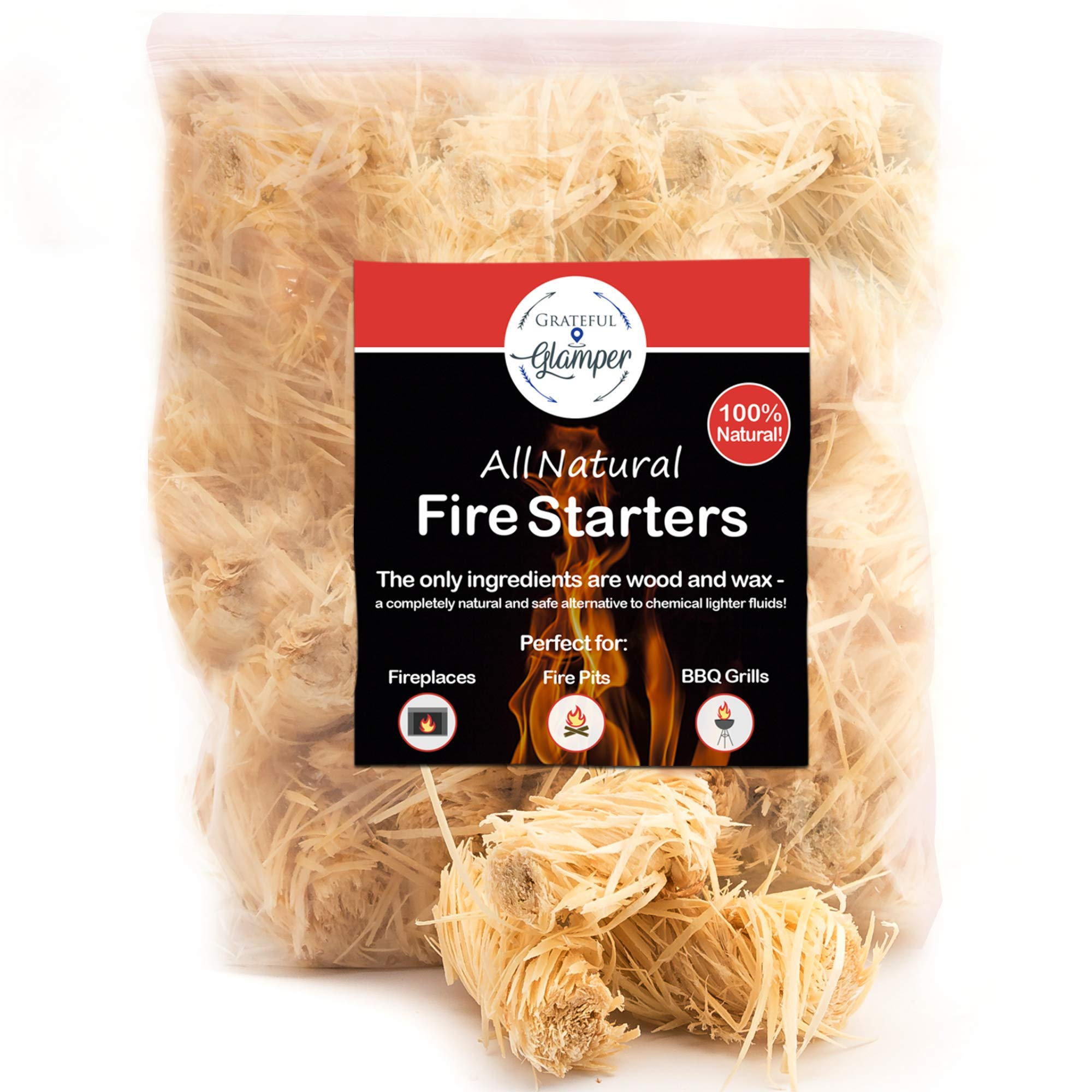 Fire Starter Tumbleweed 36 Nuggets Get Your Charcoal Fire Going Indoors/Outdoors Ideal For Barbeque Grills (Kamado, Green Egg), Pit Smokers, Wood Stoves, Campfires, Fireplaces| Eco-Friendly by Grateful Glamper