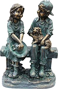 Alpine Corporation Girl and Boy Sitting on Bench with Puppy Statue - Outdoor Decor for Garden, Patio, Deck, Porch - Yard Art Decoration