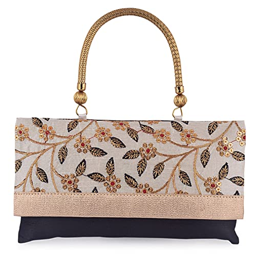 latest style of 2019 special section fashion design HAPHAE Stylish Golden Work Women's Clutch With Handle - Black color