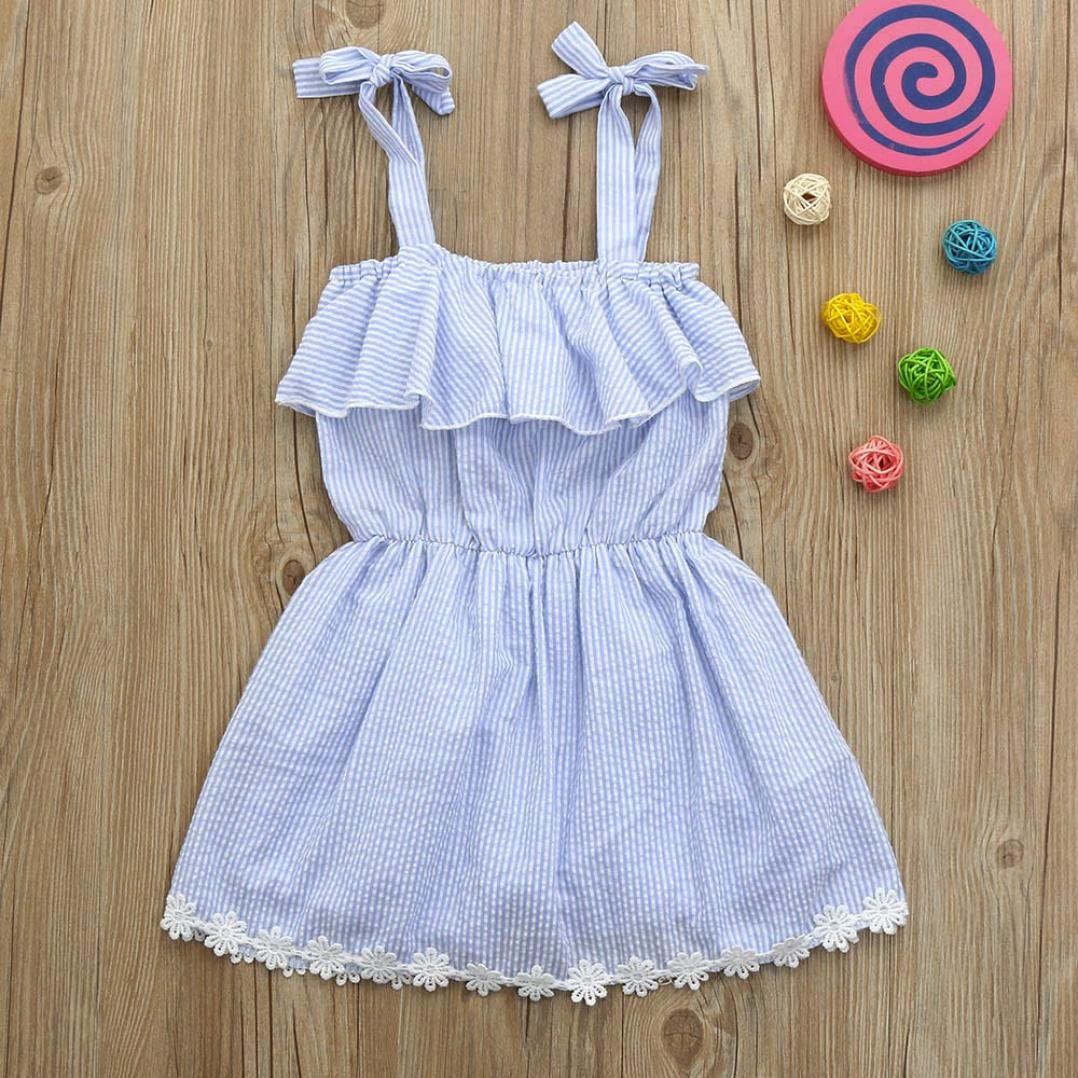 Summer Baby Girls Strap Striped Dress Pants Clothes Infant Corcert Floral Jumpsuit Romper Outfits