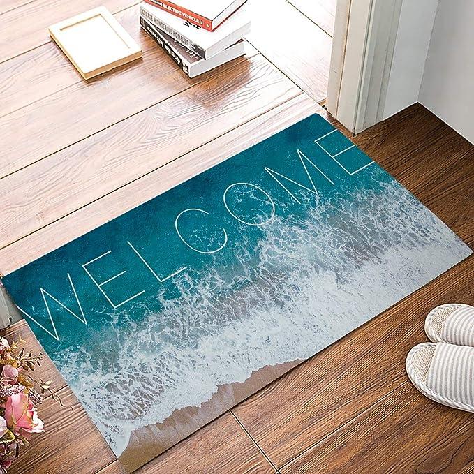 Easy to Clean Welcome Floor Rug for Outdoor Indoor Front Door Kitchen Multifunctional Venue Use Durable Thickened Pocket Design 29x17, Black Sellemer Waterproof Rubber Door Mat