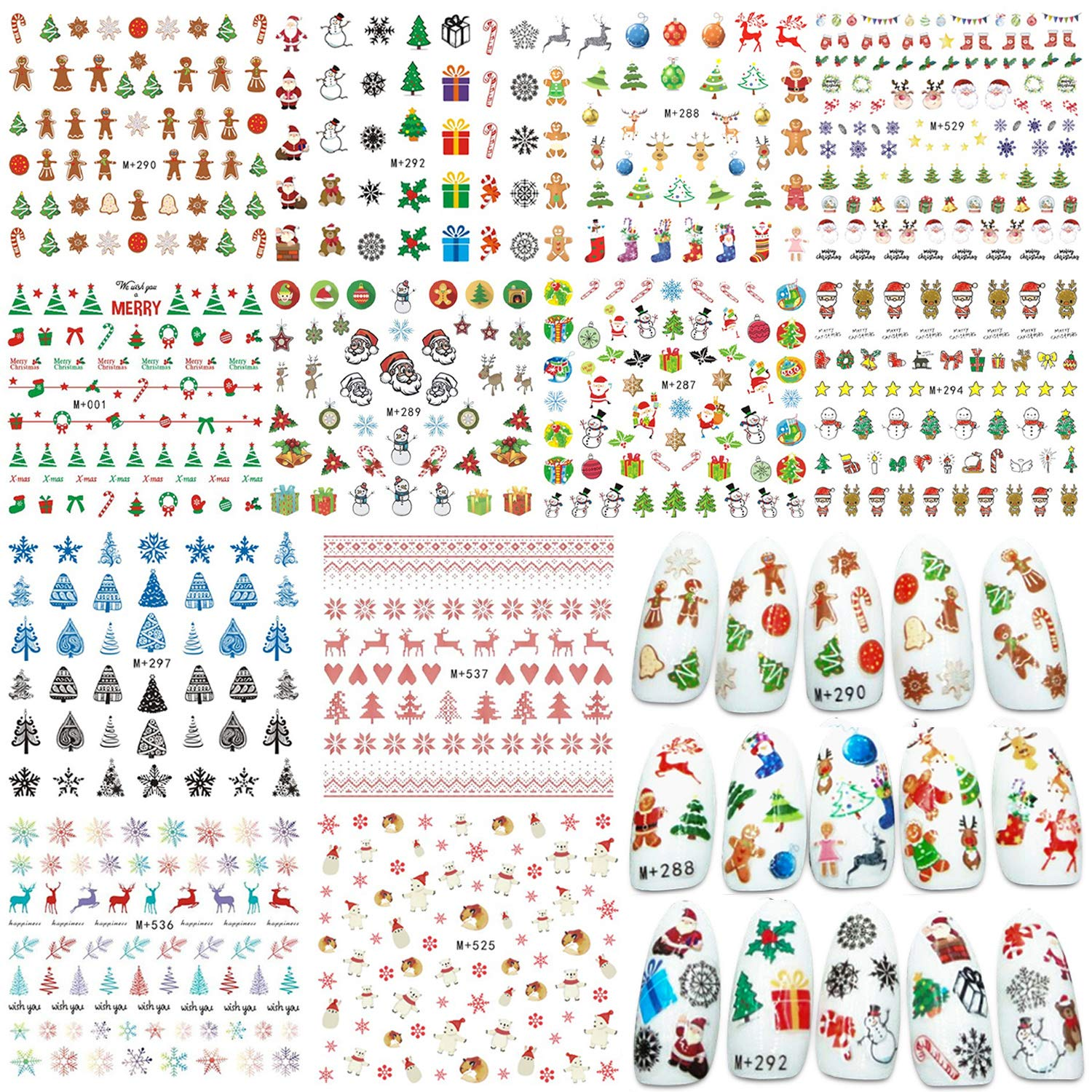 Whaline 12 Sheets Christmas Nail Art Water Transfer Stickers Santa Claus Reindeer Xmas Tree Decals for Women Girls Kids Manicure DIY or Nail Salon