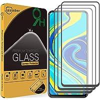 Jasinber 3 Piezas Mica Vidrio Cristal Templado Protector de Pantalla para Xiaomi Redmi Note 9S/Note 9 Pro (Negro)