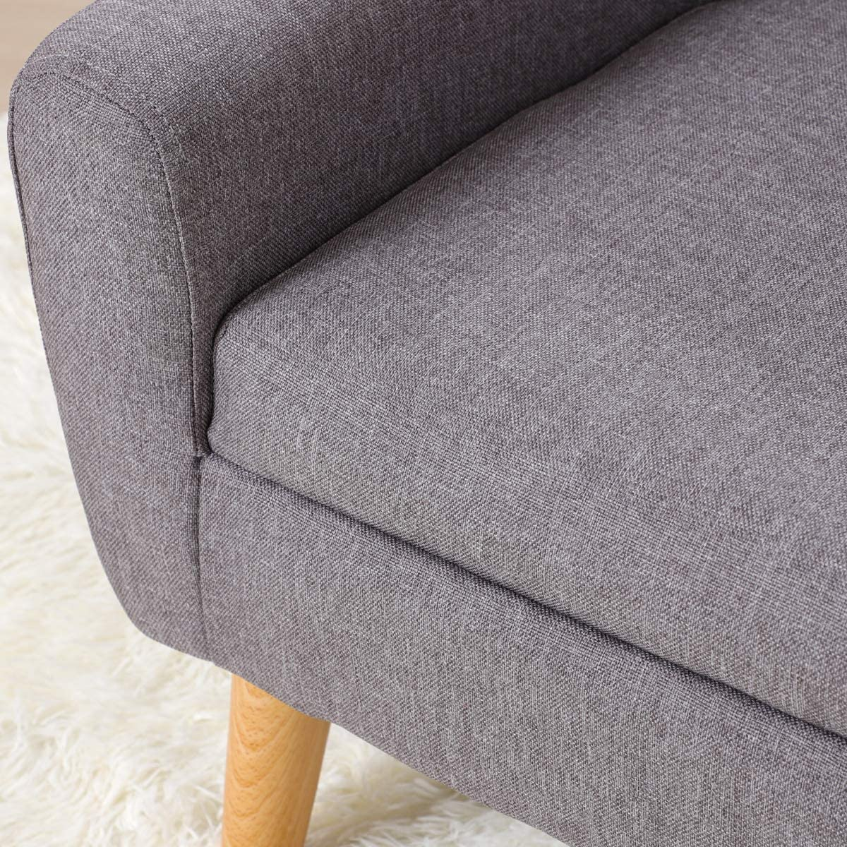 Gray Linen Fabric Upholstered Baby Sofa Chair with Plastic Legs for Children Gift Kids Sofa