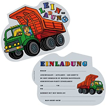 6 Einladungskarten * BAUSTELLEN KIPPER * Für Kindergeburtstag Oder  Motto Party Von DEKOSPASS //