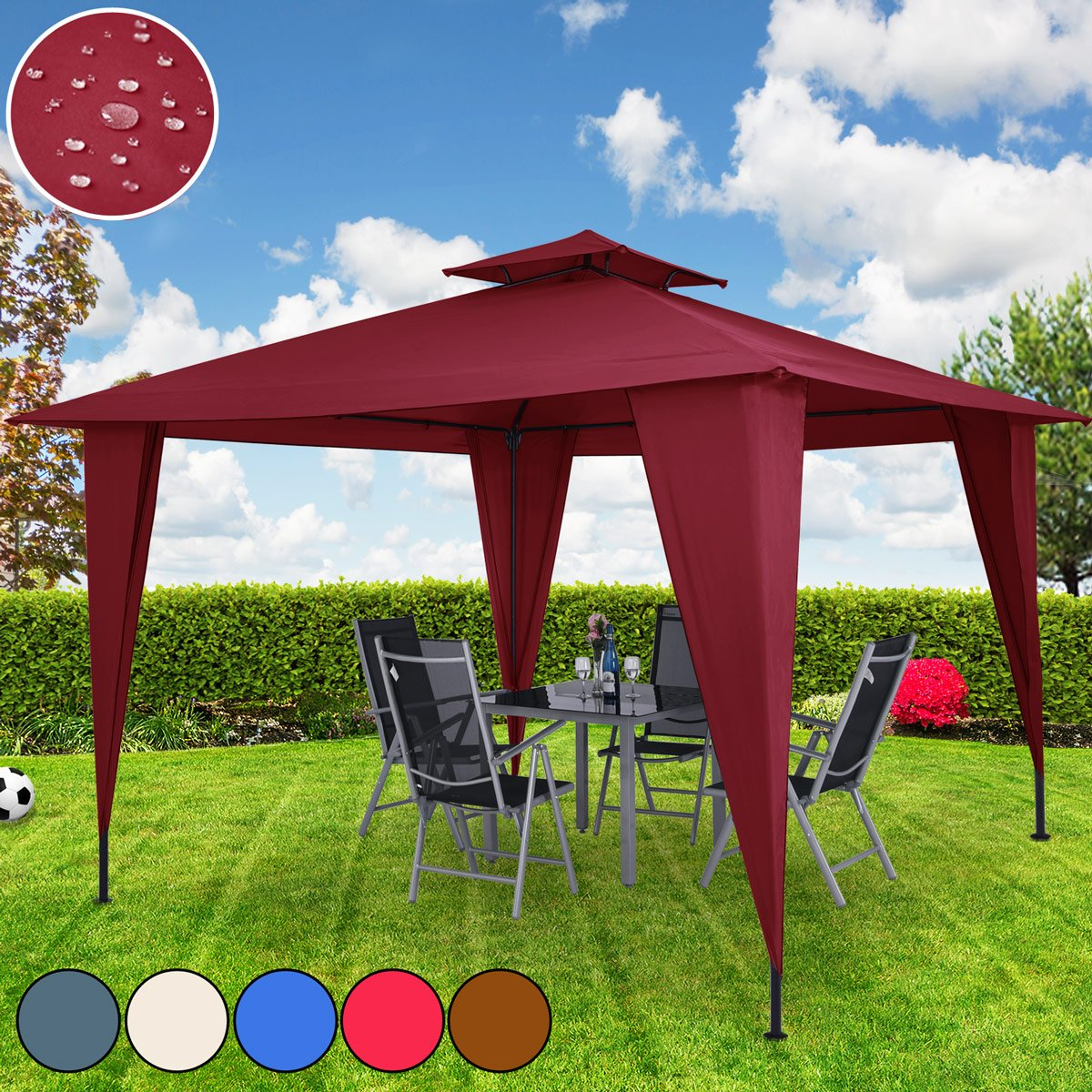 Deuba Garden Gazebo Sairee | Incl. Ground Anchors, Metal Frame, Powder Coated, Waterproof, UV-Restistance 50+ | 12x12 ft | Brown