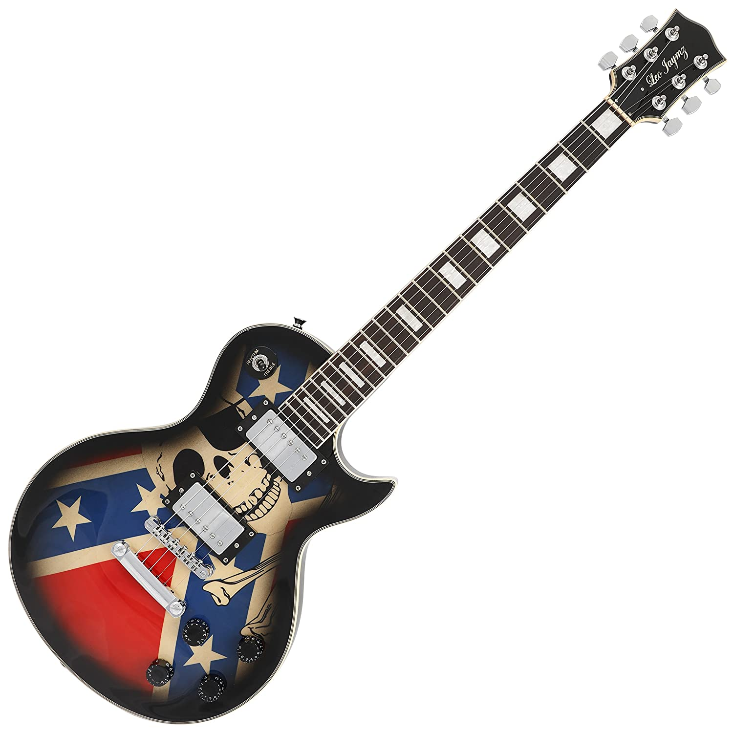 Leo Jaymz Single cut curved top GROVER machine heads Electric guitar full size with flag sticker design with high gloss color, include soft bag and extra Jaymz Light String set with Colorful Ball End HYGENT MUSICAL INSTRUMENT CO. LTD SC-US Flag
