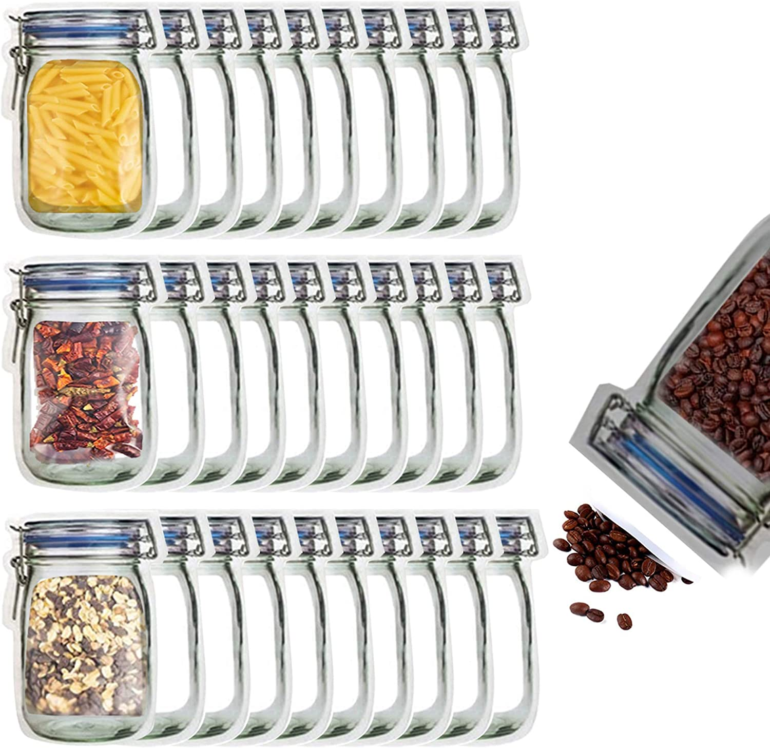 30 Mason Jar Bags, Wide Mouth Jar Bags Reusable Airtight Seal Food Storage Bags Leak-Proof Saver Bags for Travel Camping and Kids