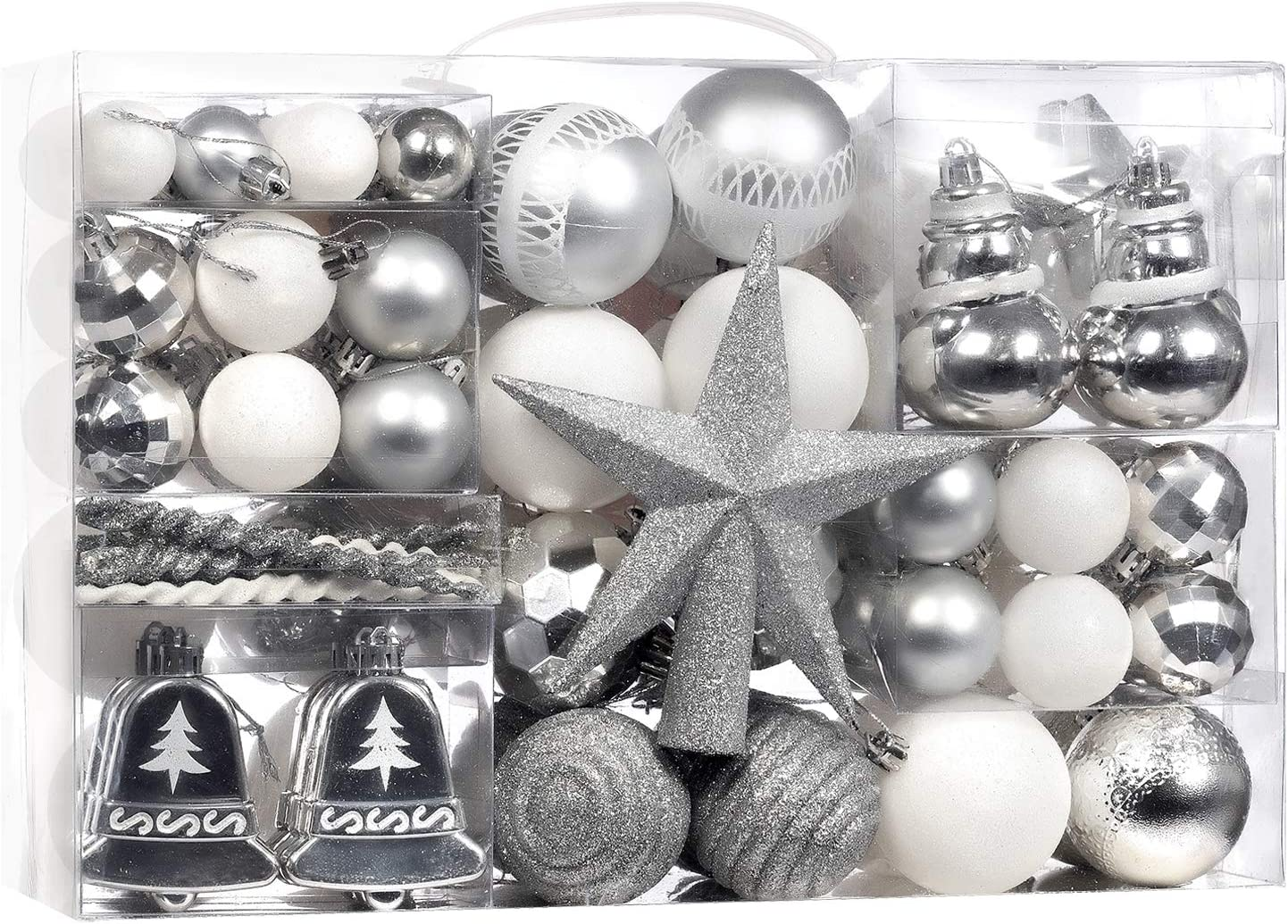 100-Pcs Silver Christmas Ball Ornaments Assorted Shatterproof Christmas Ball Set with Reusable Hand-held Gift Package for Xmas Tree Decoration