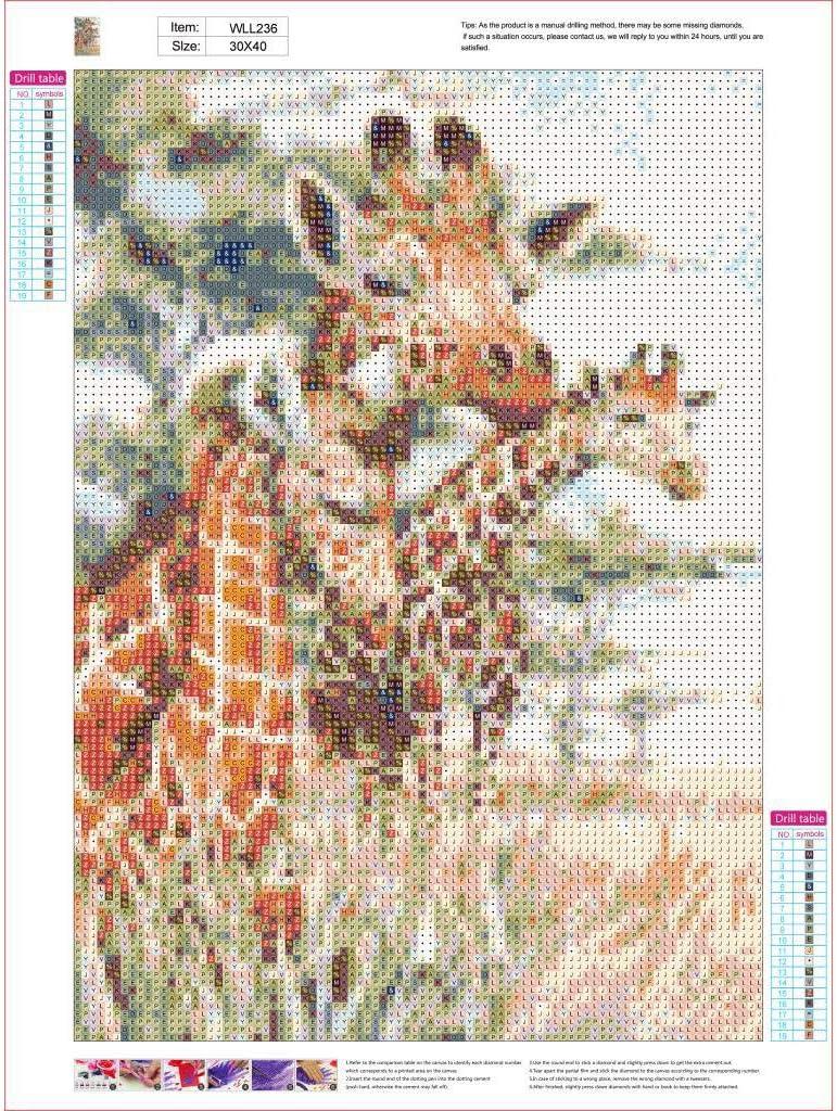 Hshing Trois Girafes Prairies Couleur Diamant Peinture Diy Diamant Art Du 5d Decoration De Maison Salon Chambre Cafe Peintures Strass 30x40cm