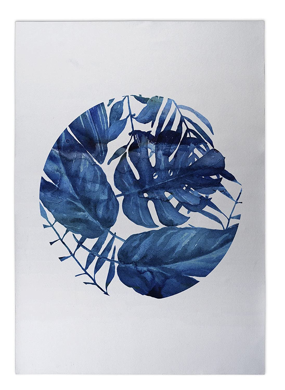 TELAVC009FM23 Blue//White - CABANA Collection KAVKA Designs Blue Leaf Indoor-Outdoor Floor Mat, Size: 24x36x0.2 -