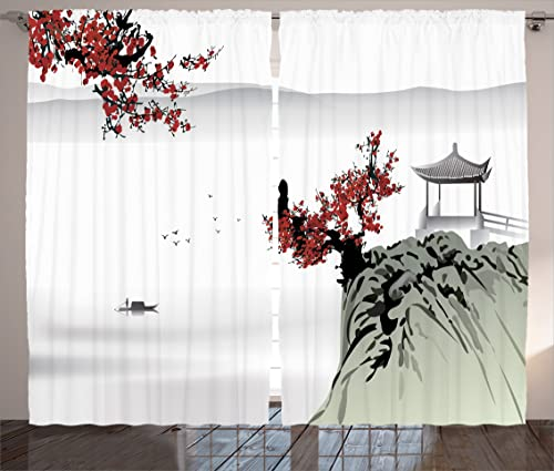 Ambesonne Asian Curtains, River Scenery with Cherry Blossoms Boat Cultural Hints Mystical View, Living Room Bedroom Window Drapes 2 Panel Set, 108 X 84 , Ruby Grey