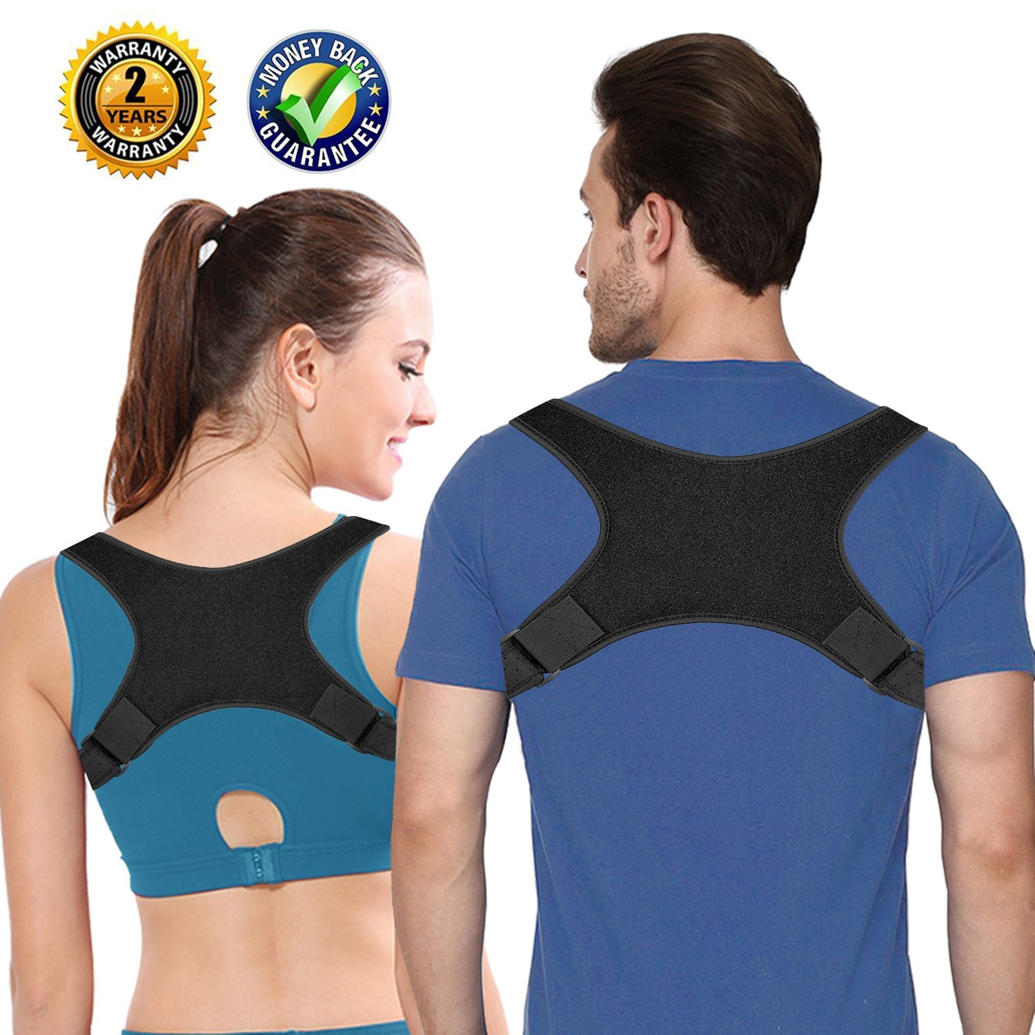 Back Brace Posture Corrector | Back Pain Relief | Back Neck Shoulder Chest Support to Prevent Slouching & Hunching | 26.8''-46.5'' Chest Circumference of Men Women Kids (Black, Large)
